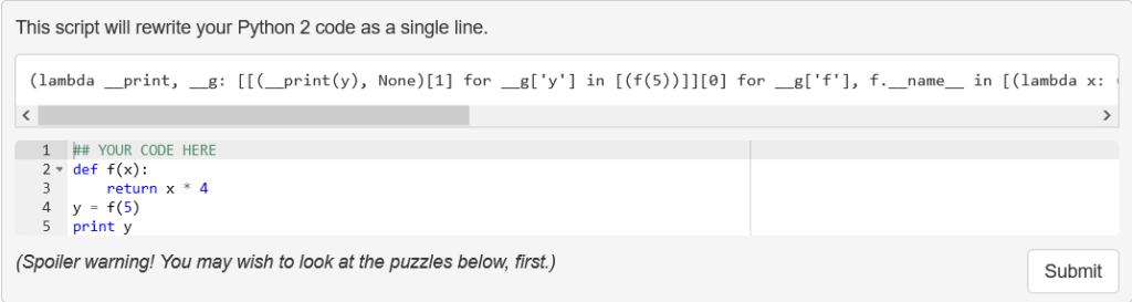 Python Onelinerizer
